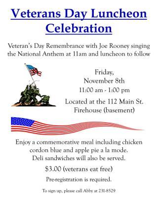 Senior Event: Veteran's Day Luncheon